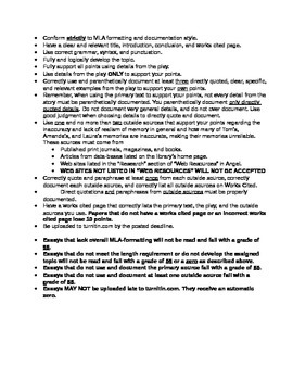 Literature: _The Glass Menagerie_ Writing Assignment #1