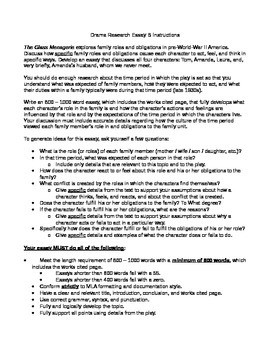 Literature: _The Glass Menagerie_ Writing Assignment #2