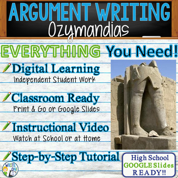 Ozymandias by Percy Bysshe Shelley Text Dependent Analysis Argumentative Writing