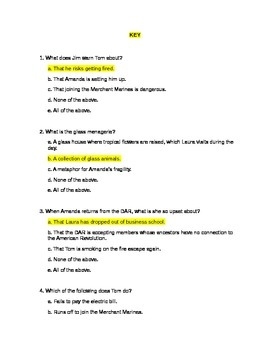 Literature: _The Glass Menagerie_ Bundled Quizzes (2)