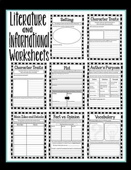 Literature and Informational Text Worksheet Bundle