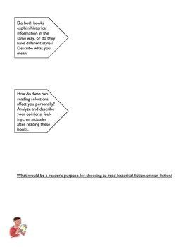 Literature comparison project - historical fiction and non-fiction texts