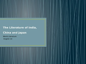 Literature of China, India and Japan