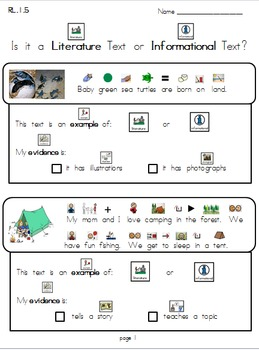 Literature or Informational RL 1.5 (SET #1) Modified for Special Education/ELL