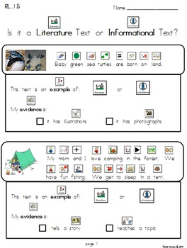 Literature or Informational RL 1.5 Mini Passages Practice (Modified) - Version 1