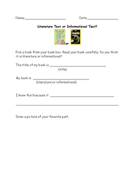 Literature or Informational Text Response Sheet