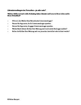 Literatursendungen Kurzvortrag Aufgabenblatt