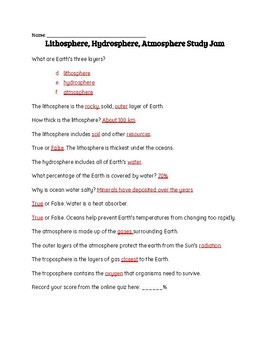 Lithosphere, Hydrosphere, and Atmosphere Study Jams Worksheet