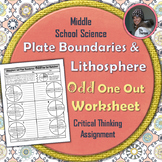 Plate Tectonics and Lithosphere Odd One Out Worksheet