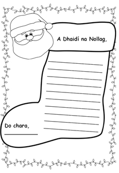 Litir chuig Daidí na Nollag (letter to Santa freebie in Irish)