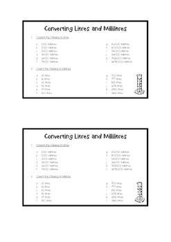 Litres and Millilitres Conversions