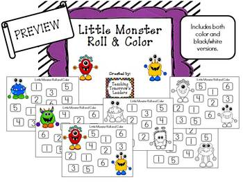 Litte Monsters Roll & Color