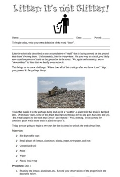 Pollution Lab - Litter: It's Not Glitter! {Editable}