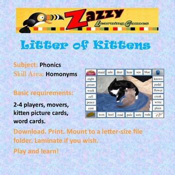 Litter of Kittens Folder Game Phonics Homonyms