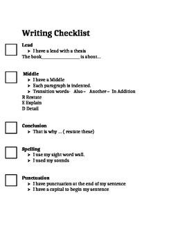 Litterary essay Students checklist