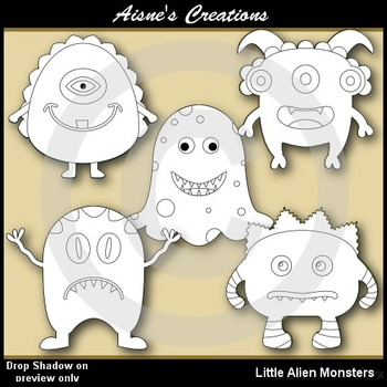 Little Alien Monsters Clipart
