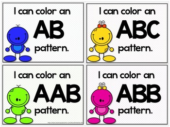 Little Aliens Create-A-Pattern Activity  { AB, ABC, AAB, & ABB Patterns}