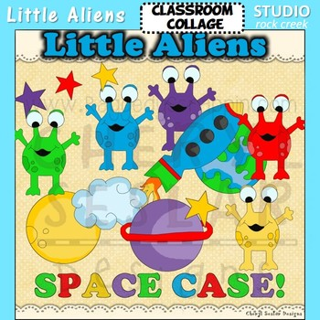 Little Aliens color clip art rocket planets stars C Seslar