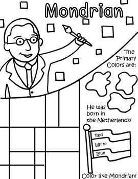 Little Artist Coloring Page- Mondrian by Primary Painters | TpT