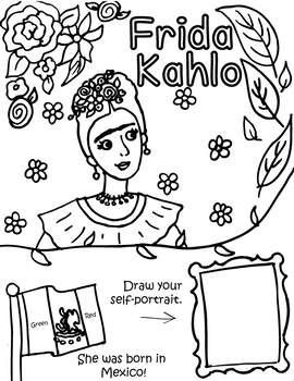 Little Artist Coloring and Activity Page- Kahlo