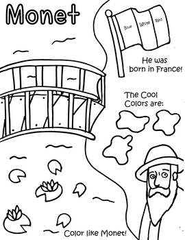 Little Artist Coloring and Activity Page- Monet
