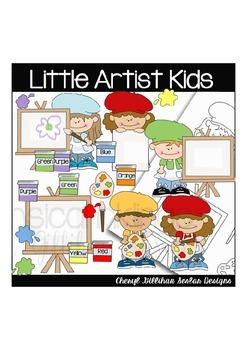 Little Artist Kids Clipart Collection