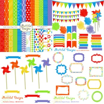 Little Artist Rainbow Digital Paper and Clip Art Kit Commercial Use