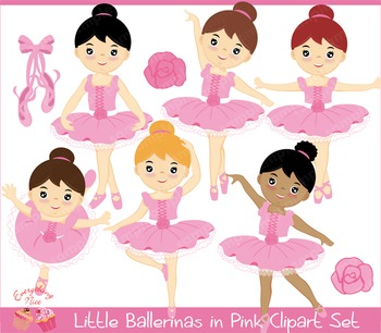 Little Ballerinas in Pink Clipart Set