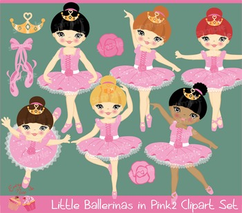 Little Ballerinas in Pink 2 Clipart Set