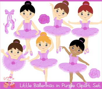 Little Ballerinas in Purple Clipart Set