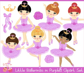 Little Ballerinas in Purple 2 Clipart Set