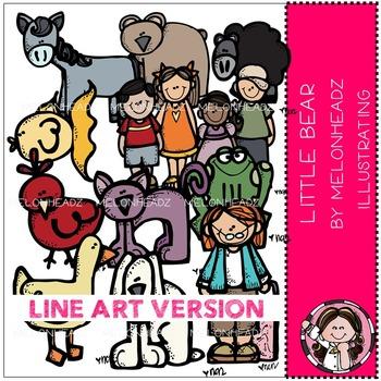 Little Bear clip art - LINE ART- by Melonheadz