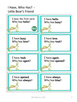 """Little Bear's Friend """"I HAVE, WHO HAS?"""" Sight Word Practice - Harcourt Trophies"""