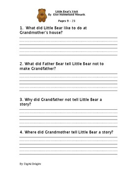 Little Bear's Visit Reading Comprehension Questions