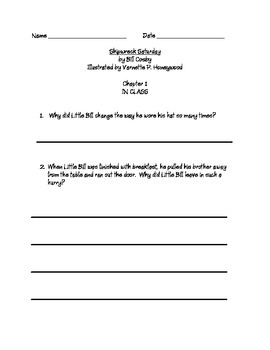 Little Bill Shipwreck Saturday by Bill Cosby Guided Reading Study Guide