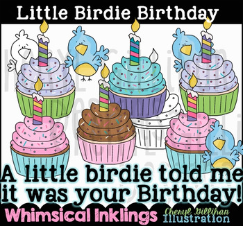 Little Birdie Birthday Clipart Collection NO LICENSE REQUIRED