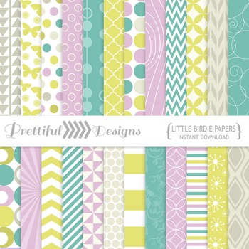 Little Birdie Spring Colors Digital Papers Backgrounds Commercial Use