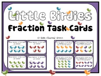 Fraction Task Cards {with little birdies}