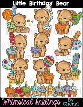 Little Birthday Bear Clipart Collection
