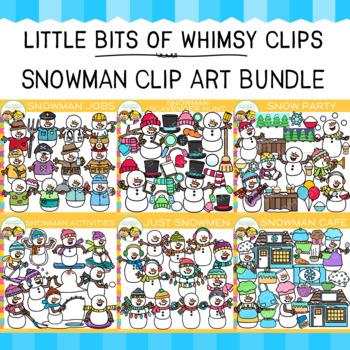 Little Bits of Whimsy Clips: Snowman Clip Art Bundle {Winter Clip Art}