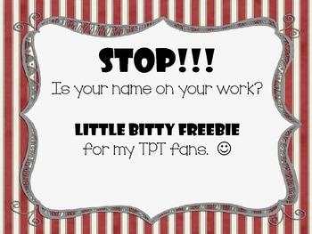 Little Bitty Freebie - Name on Work