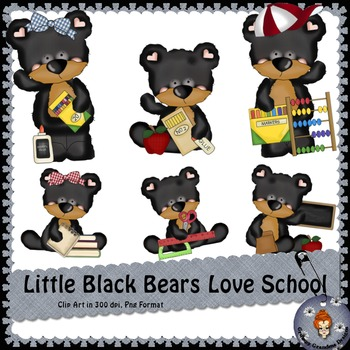 Little Black Bears Love School clipart