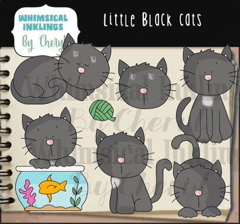 Little Black Cats Clipart Collection