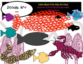Little Black Fish Clipart Pack