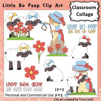 Little Bo Peep Clip Art - Color - pers & comm Nursery Rhyme T Clark