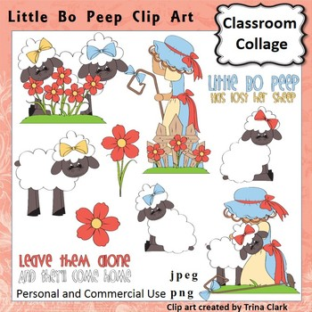 Little Bo Peep Clip Art - Color - pers & comm Nursery Rhyme T Clark