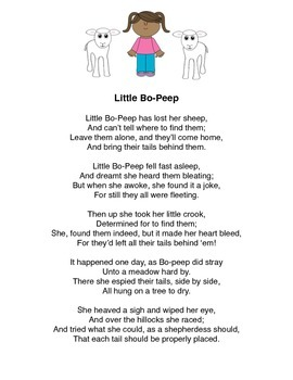 """""""Little Bo-Peep"""" Mother Goose Rhyme Popsicle Stick Puppets"""