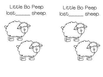 Little Bo Peep Number Activities Freebie