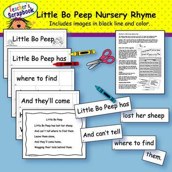 Little Bo Peep Nursery Rhyme Headbands & Sentence Strips