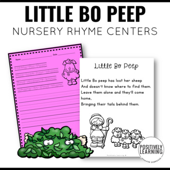 Little Bo Peep Nursery Rhyme Literacy Tasks